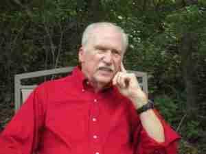 Author Phil Emmert - red shirt